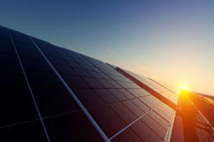 Solar Panels in Dim Light 3d rendering